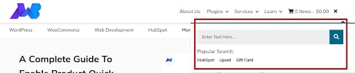 WordPress Search System bar header