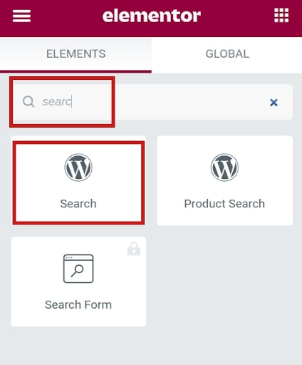 Elementor WordPress Search System page